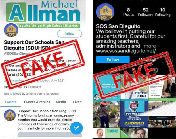 Two fake social media accounts reportedly created by Trustee Michael Allman and his supporters in an attempt to stymie the current recall effort against him. Courtesy screenshots