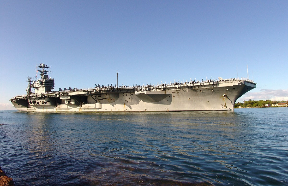 A U.S. Navy helicopter's main rotar struck the deck of the aircraft carrier USS Abraham Lincoln (pictured above), crashing into the sea. Courtesy photo