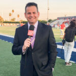 Steve Quis, a longtime local broadcaster and Rancho Bernardo resident, called three different sports over five days. His work for Bally Sports had him at a recent showdown between nationally ranked high school football teams. Courtesy photo
