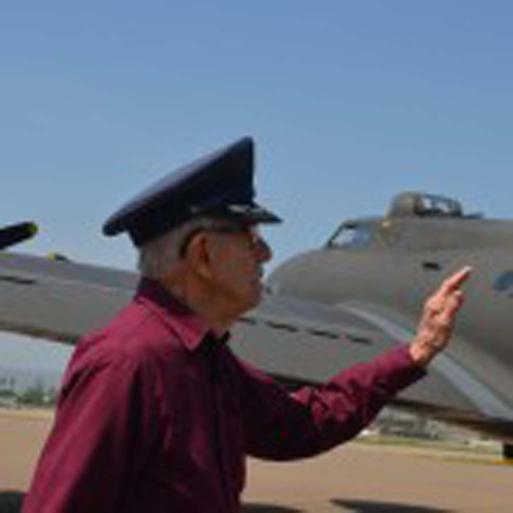 Retired Air Force engineer and top turret gunner Douglas Dowell, 88, gets the opportunity to return for a flight in a B-17 bomber. Dowell completed 33 missions during World War II as an engineer and top turret gunner with the 8th Air Force, 379th bomb group. Photo by Tony Cagala