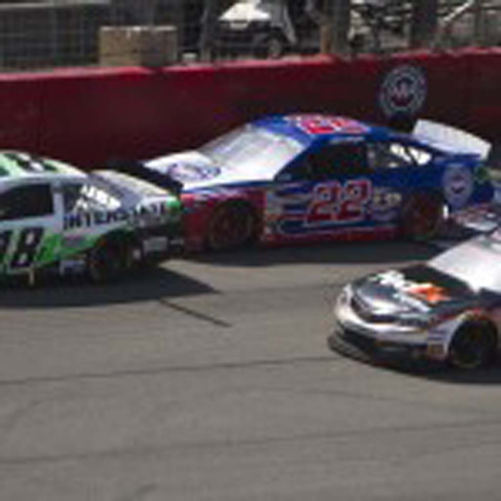 Kyle Busch (18), Joey Logano (22), and Denny Hamlin (11) provided one of the most exciting finishes in NASCAR this year. Photo by Daniel Knighton