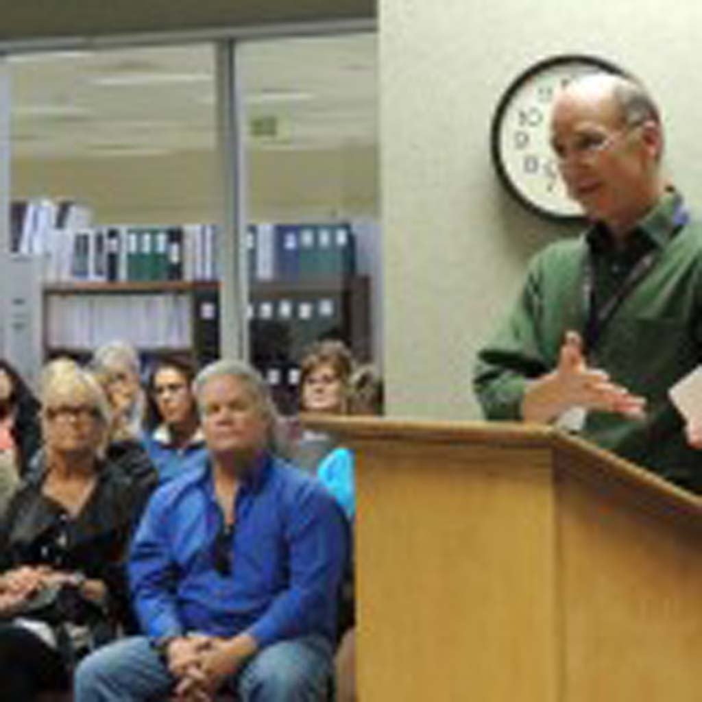 """Carlsbad High School math teacher Keith Glazer urges the CUSD Board to reduce class sizes, as the district's class averages surpass state maximums. """"Large class sizes hurts students, they certainly get less individual attention,"""" said Glazer. Photo by Rachel Stine"""