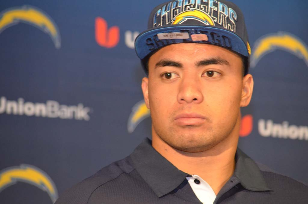 The Chargers traded up to select inside line backer Manti Te'o in the second round of the 2013 NFL draft. Photo by Tony Cagala