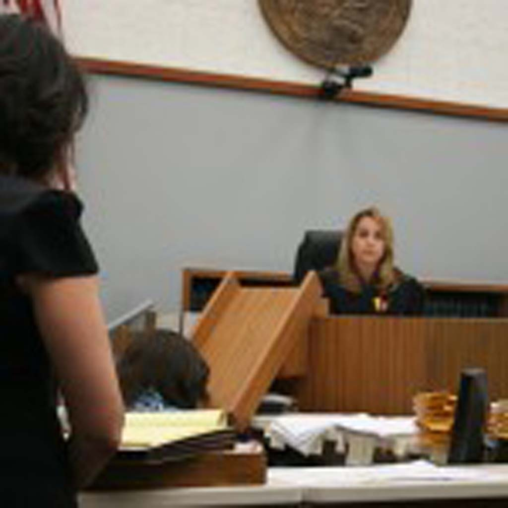 Superior Court Judge Kimberlee Lagotta granted Deputy District Attorney Christine Bannon's (left) request to order all four to be held without bail. The defendants are scheduled to return to court April 17. Photo by Promise Yee