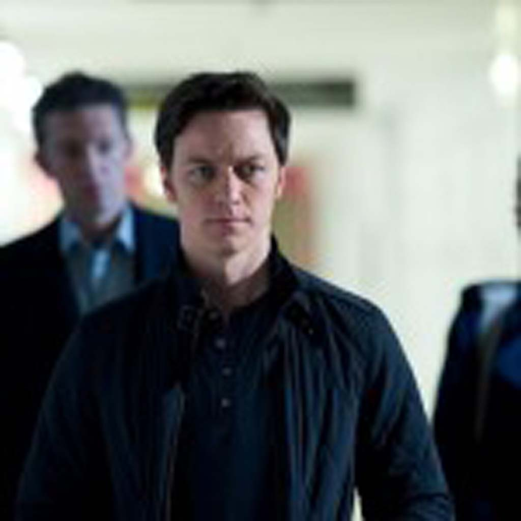 """From left: Vincent Cassel as """"Franck,"""" James McAvoy as """"Simon"""" and Rosario Dawson as """"Elizabeth"""" in the new film by Danny Boyle, """"Trance."""" Photo by Susie Allnutt"""