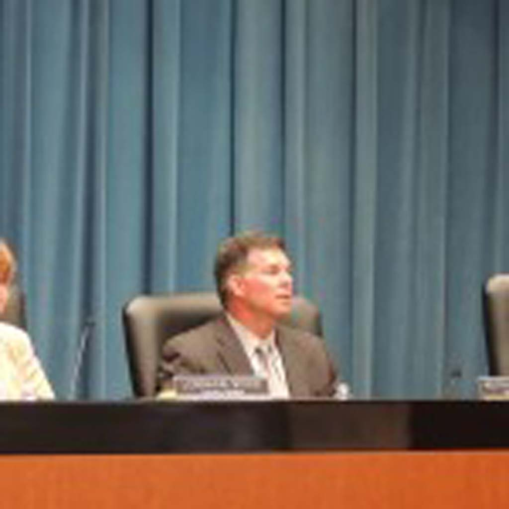 Councilmember Keith Blackburn, center, with Councilmembers Lorraine Wood, left, and Farrah Douglas listen to city staff's reasoning for using Gas Tax Funds for expansion of the Coastal Rail Trail and added roundabout at the May 28 meeting. Photo by Rachel Stine