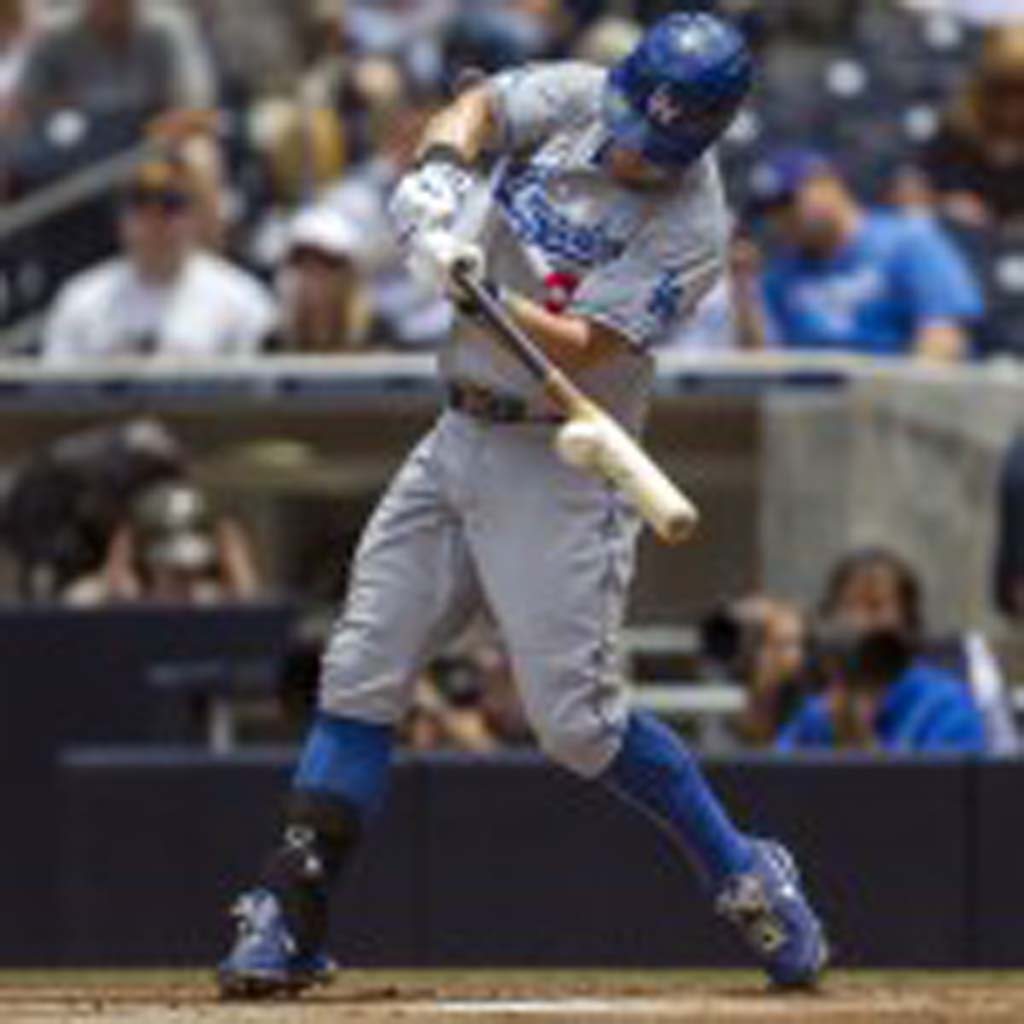 Dodgers' Skip Schumaker puts bat on ball at Petco Park. Photo by Bill Reilly