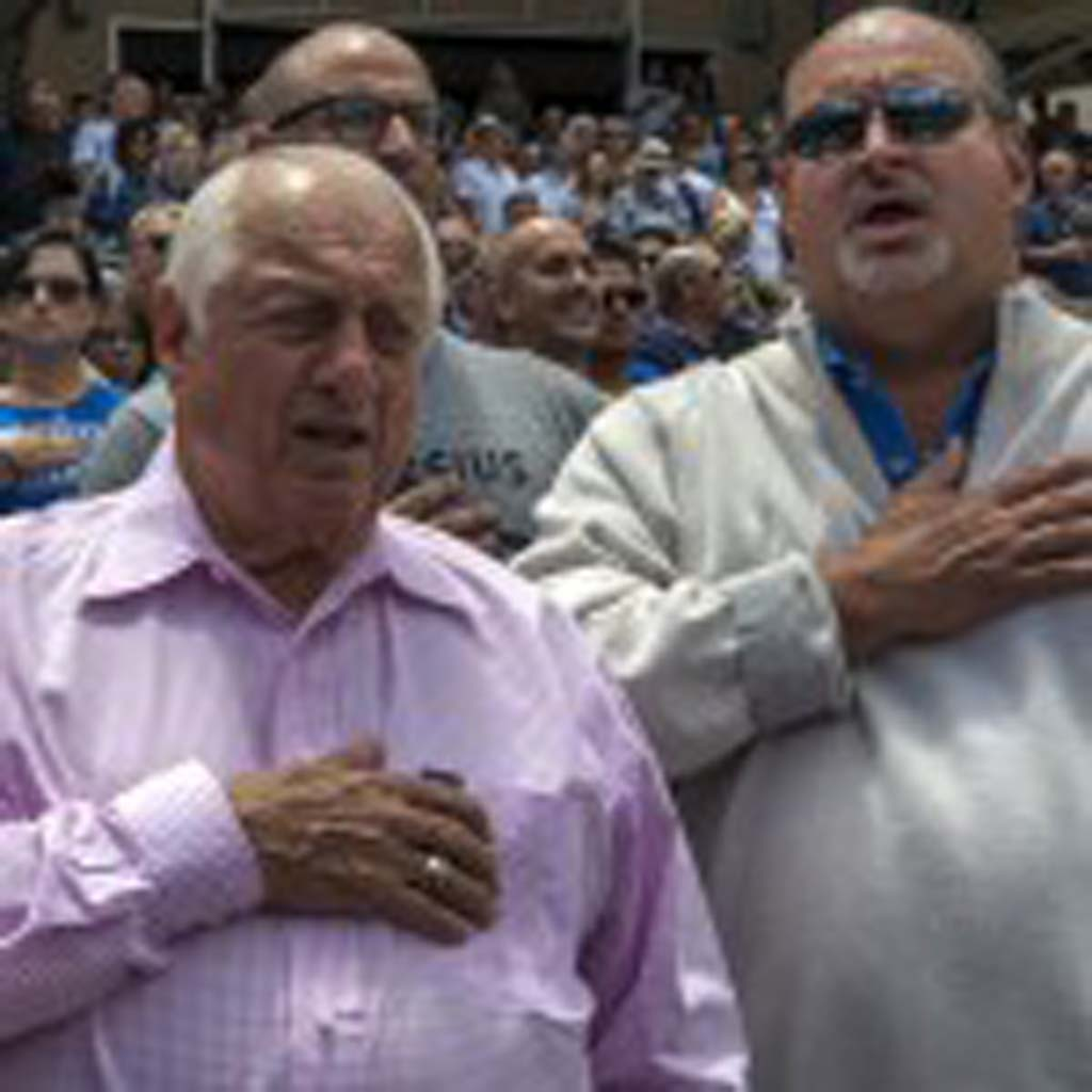 Former Dodgers manager Tommy Lasorda attends Sunday's game against the San Diego Padres and was seen in the stands during the National Anthem. Photo by Bill Reilly
