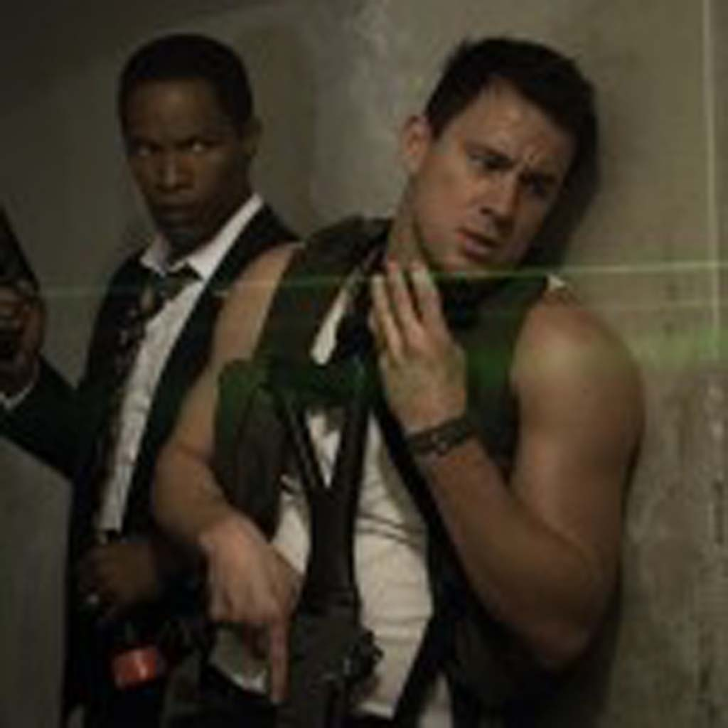 """Jamie Foxx, left, is the President of the United States, and Channing Tatum is a capitol policeman trying to protect him in """"White House Down."""" Photo by Reiner Bajo"""