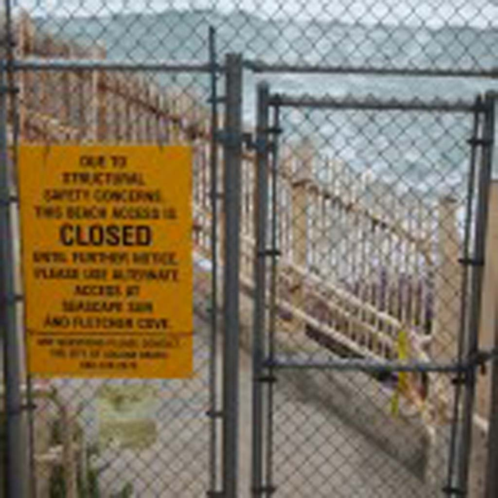 The beach access stairway at Del Mar Shores Terrace has been closed since November after it was deemed unsafe to use. On June 12 council authorized the project to go out to bid but it will be more than a year before work is complete. Photo by Bianca Kaplanek