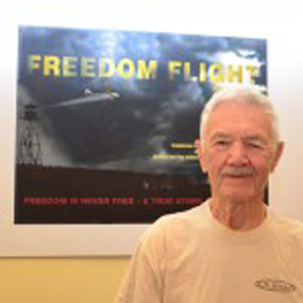 """Frank Iszak's daring escape to freedom from behind the Iron Curtain in a hijacked Hungarian commercial airliner is captured in his memoir, """"Free for All to Freedom."""" He hopes that it will someday become a movie. Photo by Tony Cagala"""