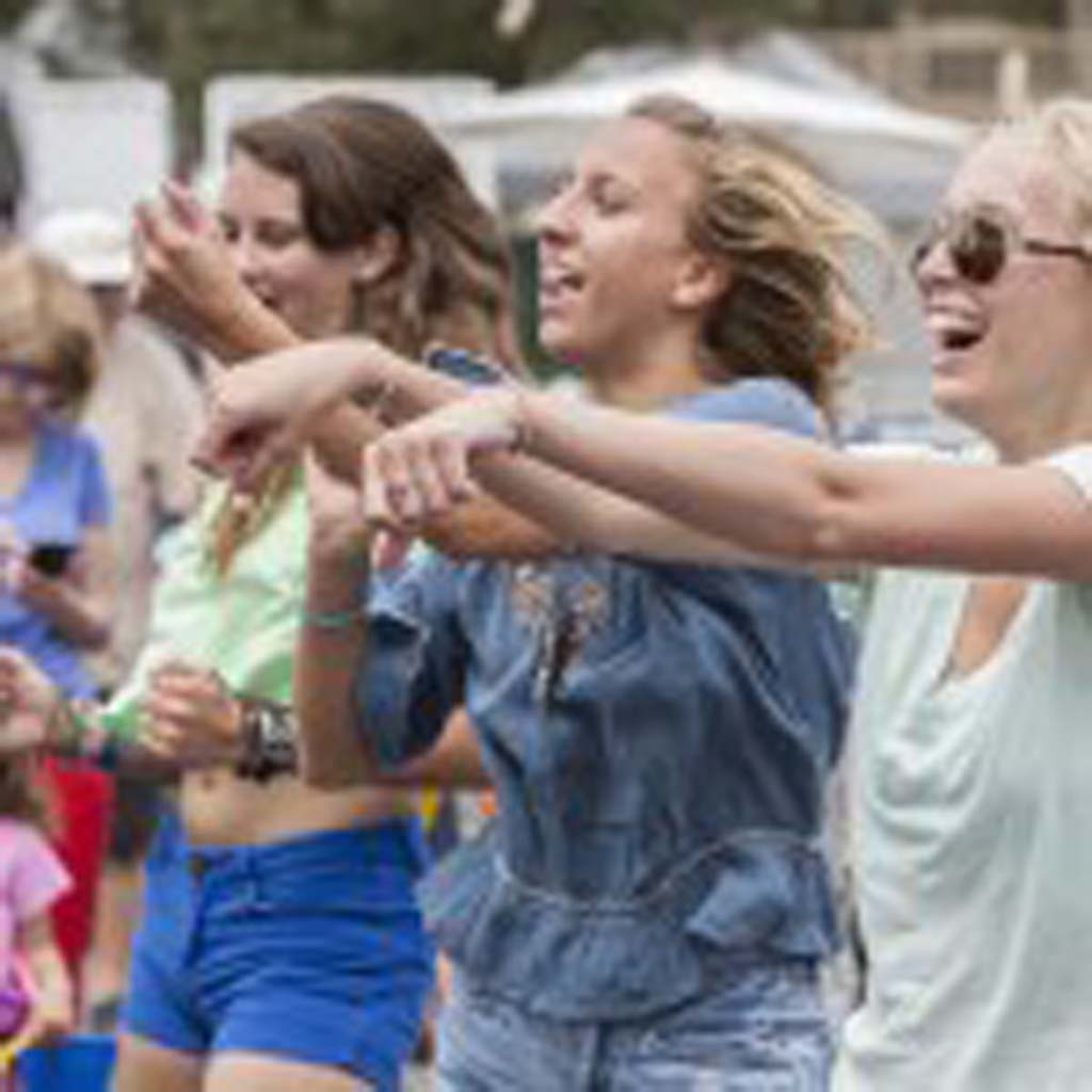A group of youngsters dance along with the Zumba demonstration at Fiesta Del Sol. Photo by Daniel Knighton