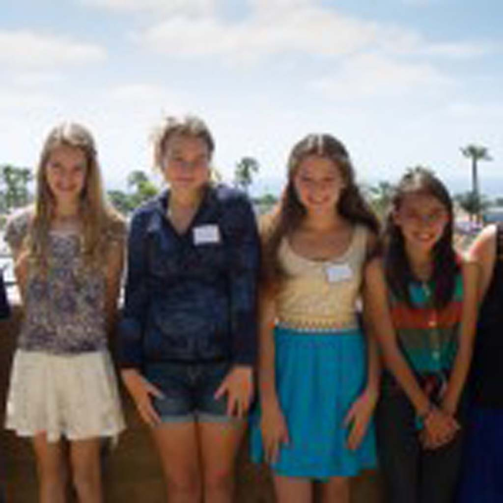 From left, Grace Wesson of Carmel Valley Middle School, Carolyn Knapp and Olivia How of Earl Warren Middle School, and Daniella Lumkong, Valerie Zerfas and Magdely Benitez of Oak Crest Middle School earned the American Association of University Women Del Mar-Leucadia Branch scholarships to attend Tech Trek, an AAUW sponsored science and math camp for girls. Photo by Betty Reed