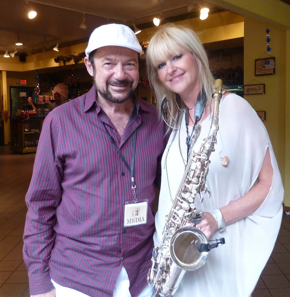 TASTE OF WINE columnist Frank Mangio with sax queen Mindi Aibair at Thornton Winery in Temecula. Photo courtesy of Taste of Wine