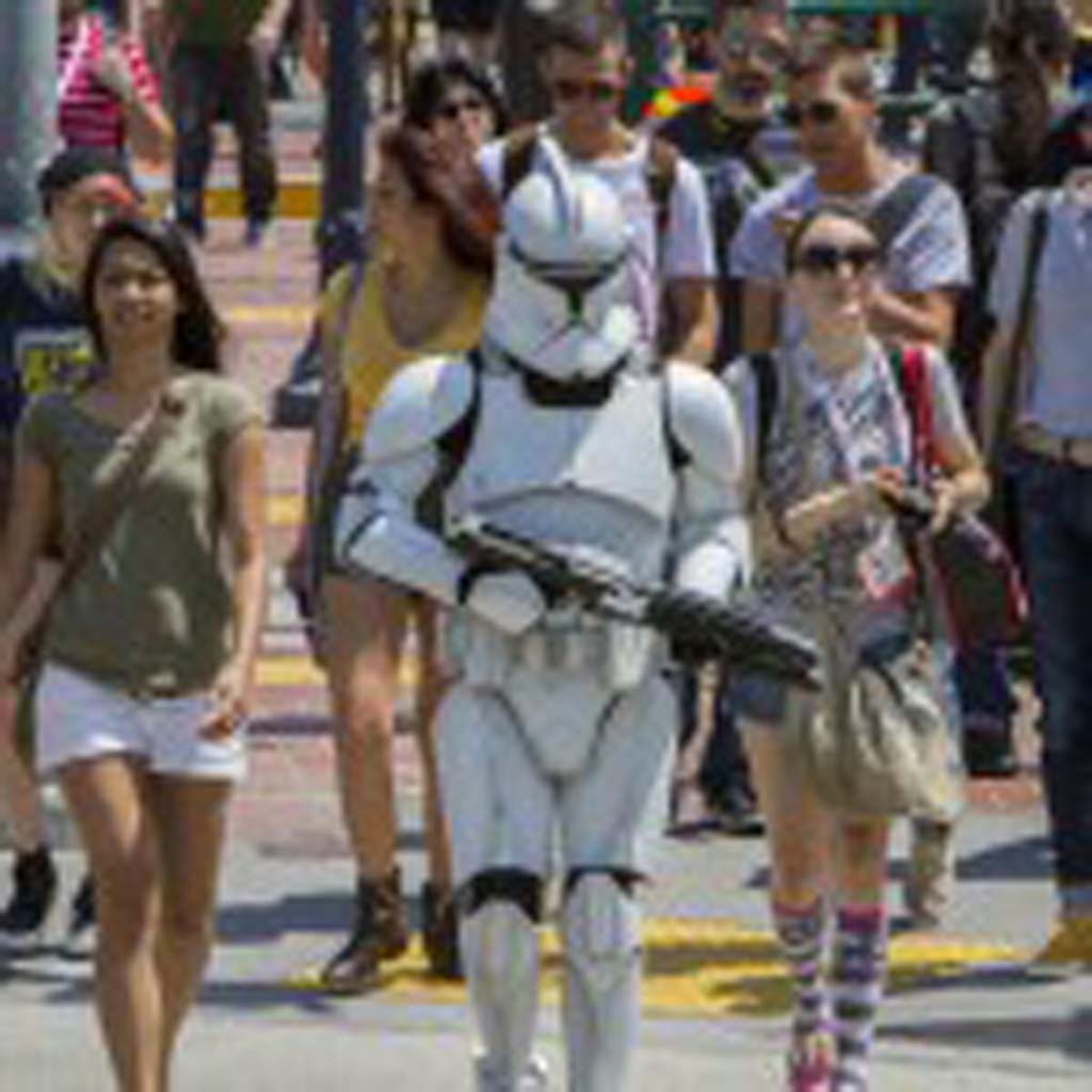 Fans dressed in elaborate costumes are a common sight down in San Diego's Gaslamp District during Comic-Con. Photo by Daniel Knighton