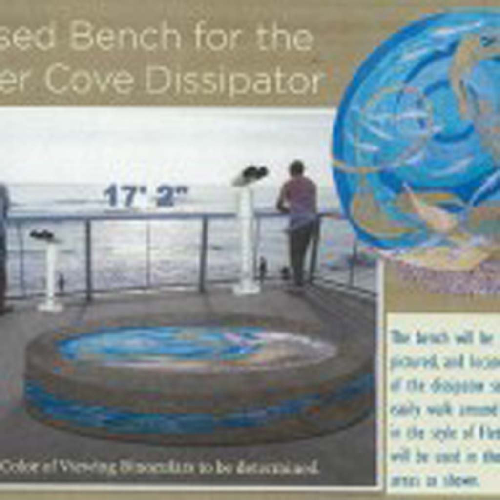City Council accepted a donation to install a mermaid-themed bench and two binoculars at Fletcher Cove. The original circular design shown here was reconfigured. The seat will be oval shaped to comply with the Americans with Disabilities Act. Courtesy rendering