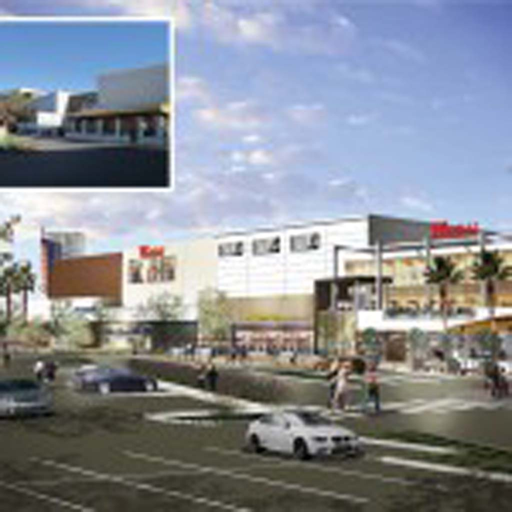 The mock up shows Westfield's proposed exterior renovation to where a Robinsons-May once stood at the Plaza Camino Real mall next to a photo of how the space looks today. With approval from City Council, the mock up will become a reality as early as the end of 2014. Image courtesy of Westfield