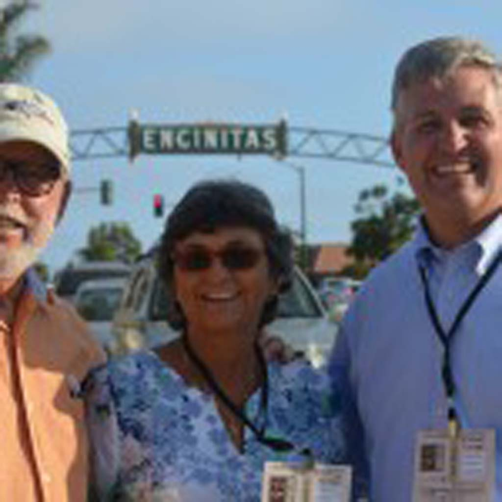 From left: Don Barth, Encinitas Mayor Teresa Barth and District 3 Supervisor Dave Roberts head down to sample some of the menus offered along Coast Highway 101. Photo by Tony Cagala