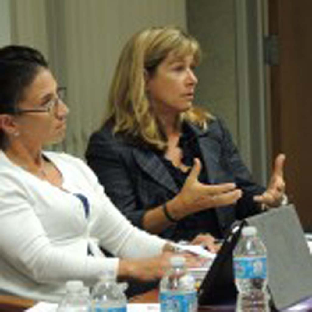 """""""How did this get so far and missed?"""" Trustee Lisa Rodman, right, asked staff members, addressing the fact that safety and accessibility issues with the Cultural Arts Center were not addressed during the facility's most recent upgrade. Photo by Rachel Stine"""