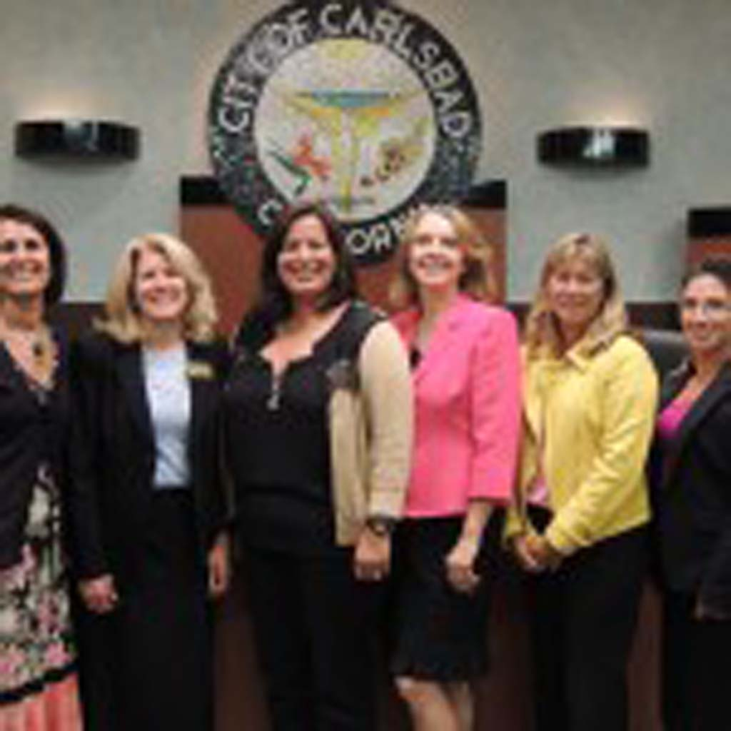 From left to right: CUSD Superintendent Suzette Lovely, Board Vice President Ann Tanner, newly selected Board member Claudine Jones, Board President Elisa Williamson, Trustee Lisa Rodman, and Trustee Veronica Williams pose together for the first time after Jones was selected as the new Board member on Sept. 16. Photo by Rachel Stine