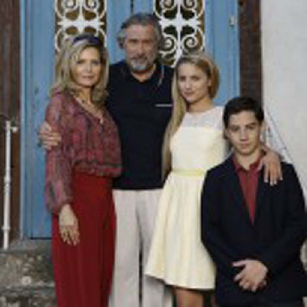 "From left: Michelle Pfeiffer, Robert De Niro, Dianna Agron and John D'Leo star in ""The Family."" Photo by Jessica Forde"