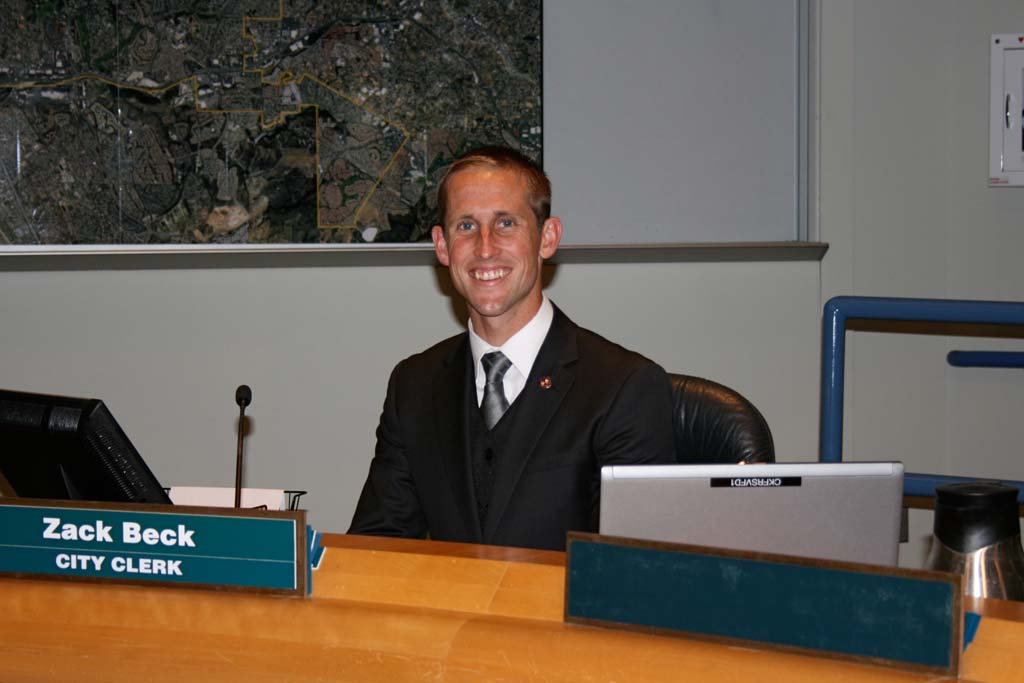 Zack Beck serves as Oceanside City Clerk. The 26-year-old became involved in politics when he ran for city council in 2008. Photo by Promise Yee