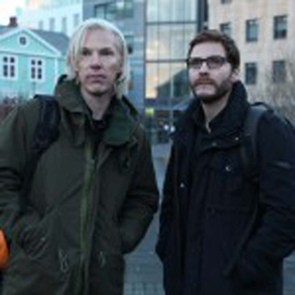 """Julian Asange (Benedict Cumberbatch), left, and Daniel Domscheit-Berg (Daniel Bruhl) in """"The Fifth Estate,"""" the story about the founding of WikiLeaks. Photo by Frank Connor"""