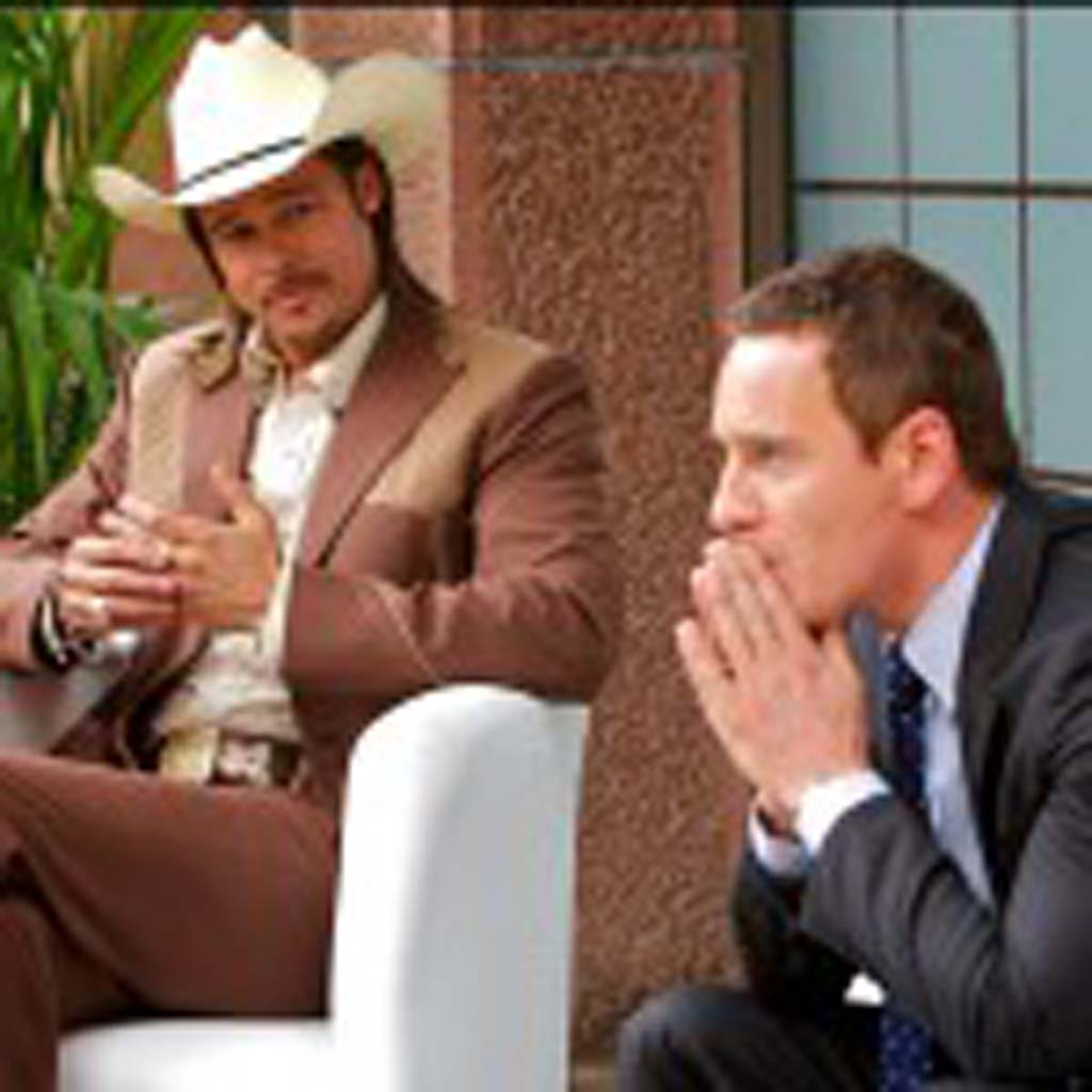 """Westray (Brad Pitt), left, talks to the Counselor (Michael Fassbender) in """"The Counselor."""" Photo by Kerry Brown"""