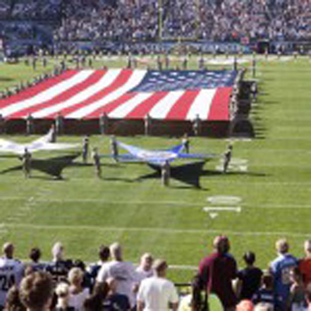 The Chargers gave a salute to the military during the opening ceremonies on Sunday. Photo by Bill Reilly