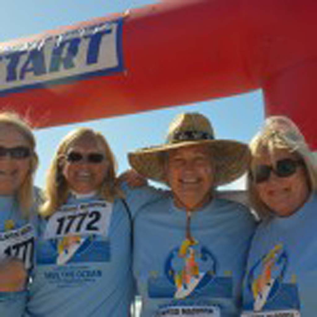 From left: Elaine Heston, Dianne Guiliani, Julia Kay Deale and Jill Brower pose together at the starting line before the race.
