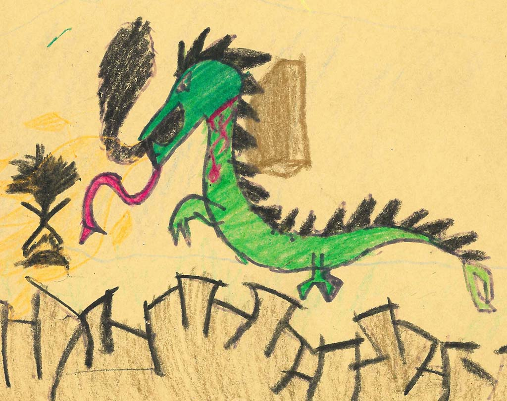 A boy drew this picture of a person facing down a dragon while he told his story of abuse at the Child Abuse Program at the Forensic Health Services Department at Palomar Health. Image courtesy of Palomar Health