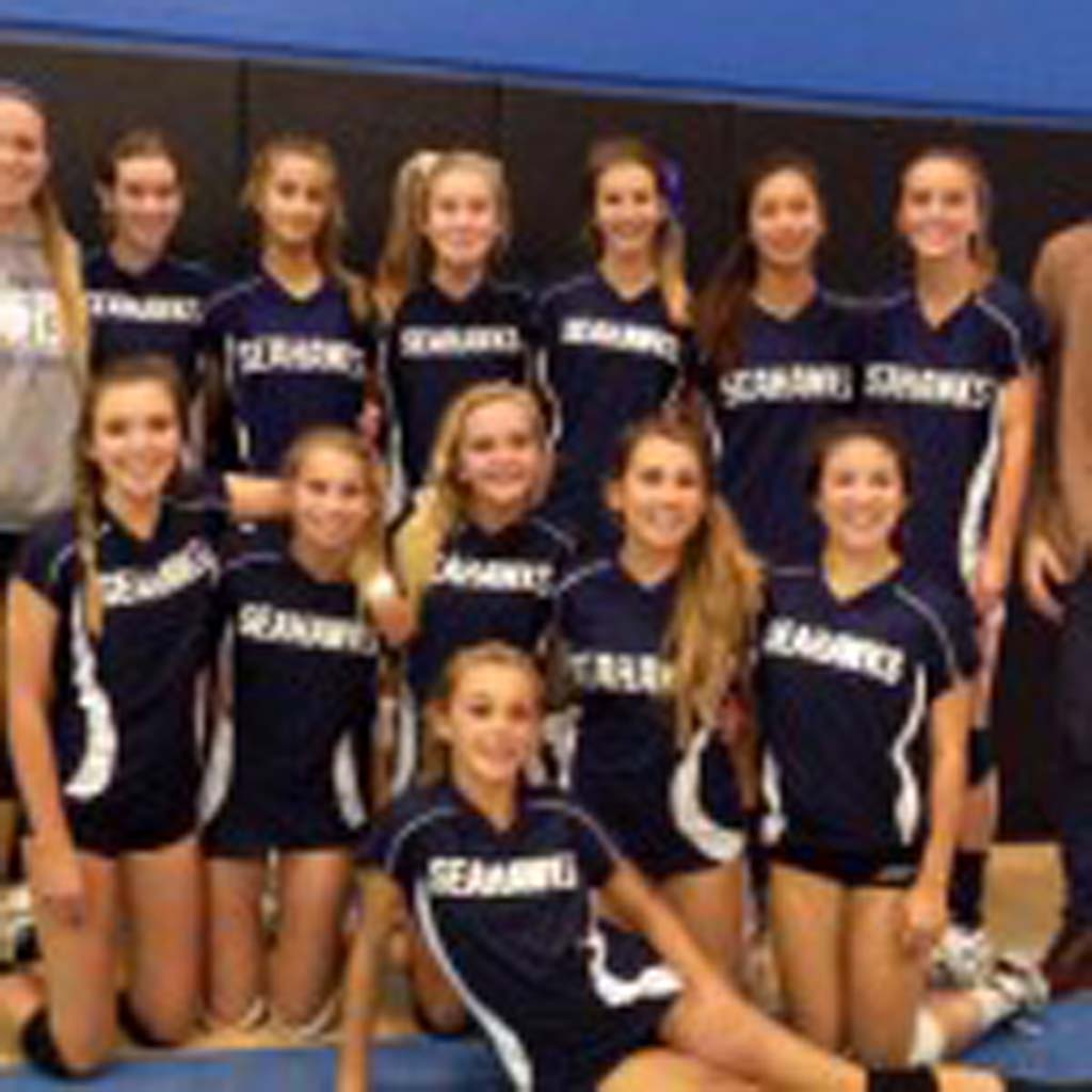 Earl Warren Middle School's eighth-grade girls volleyball team went undefeated this year. The team includes, clockwise from back row, assistant coach Carly Auerbach, Whitley Ballard, Isabella Parise, Kate Miller, Ellie Auerbach, Alexis Hong, Allira Barclay, coach William Raschke, Lauren Loef, Michele Armas, Ally Perlman, Jaden Whitmarsh, Jessie Fleck and Tate Keeney. Courtesy photo
