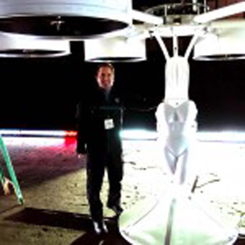 Carlsbad resident Gus Calderon was the man holding the controls of the Volantis, a remote-controlled flying machine that propelled pop singer Lady Gaga into the air for a short flight. The project, Gaga later said, is meant to inspire young people. Photo courtesy of Gus Calderon