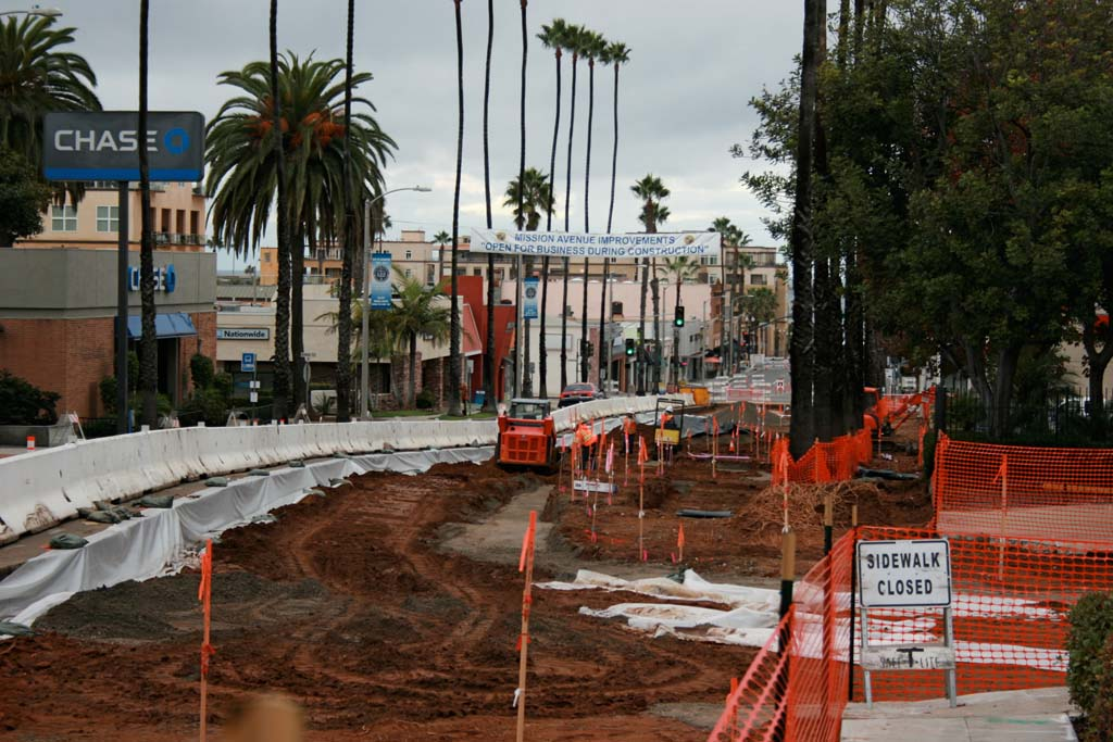 Roadwork began Nov. 12 and businesses have already felt an impact. Some reported a 30 to 40 percent drop in sales. Customers are unclear on where to park since roadwork began. Signs will be posted to let drivers know parking is allowed on Mission Avenue west of Ditmar. Photo by Promise Yee