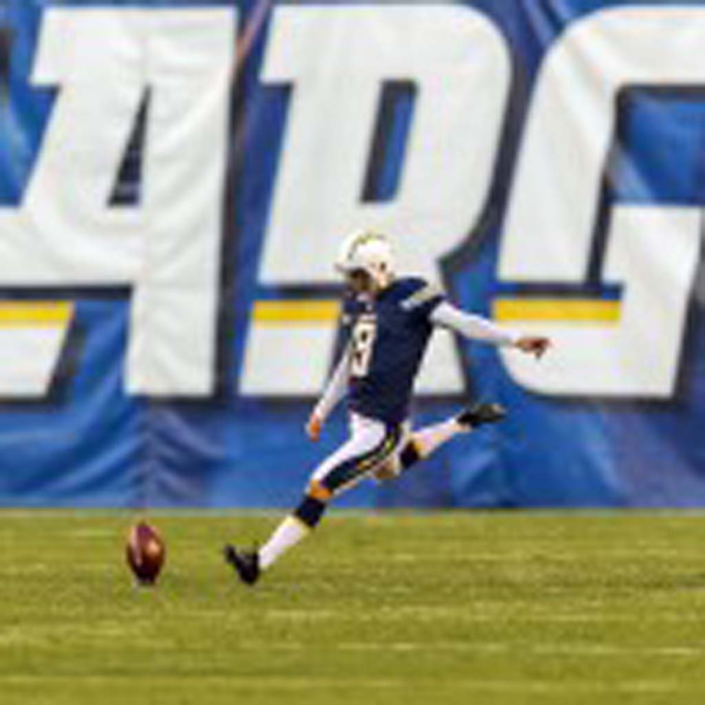 The Chargers have relied a lot on the leg of kicker Nick Novak this season. During Sunday's win against the Oakland Raiders, Novak made four field goals, tying second with former kicker Nate Kaeding for most field goals made in a season. The Chargers have one more game to go in the regular season Dec. 29. File photo by Bill Reilly