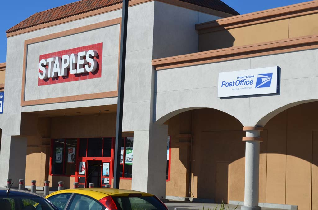 The Staples store on W. Valley Parkway in Escondido is participating in a USPS pilot program expected to last for a year. Photo by Tony Cagala