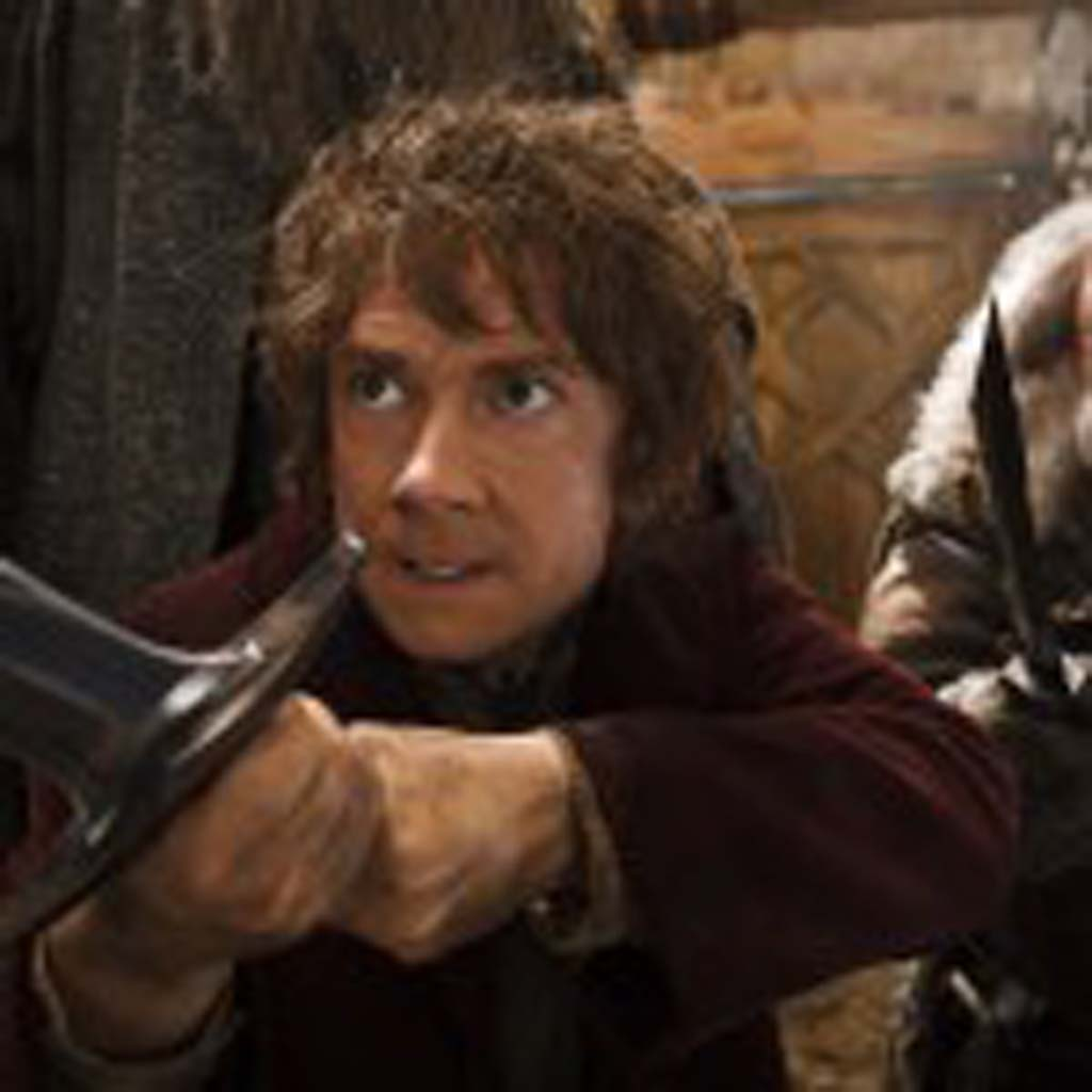 """From left: Martin Freeman as Bilbo and John Callen as Oin in """"The Hobbit: The Desolation of Smaug,"""" Photo by Mark Pokorny"""