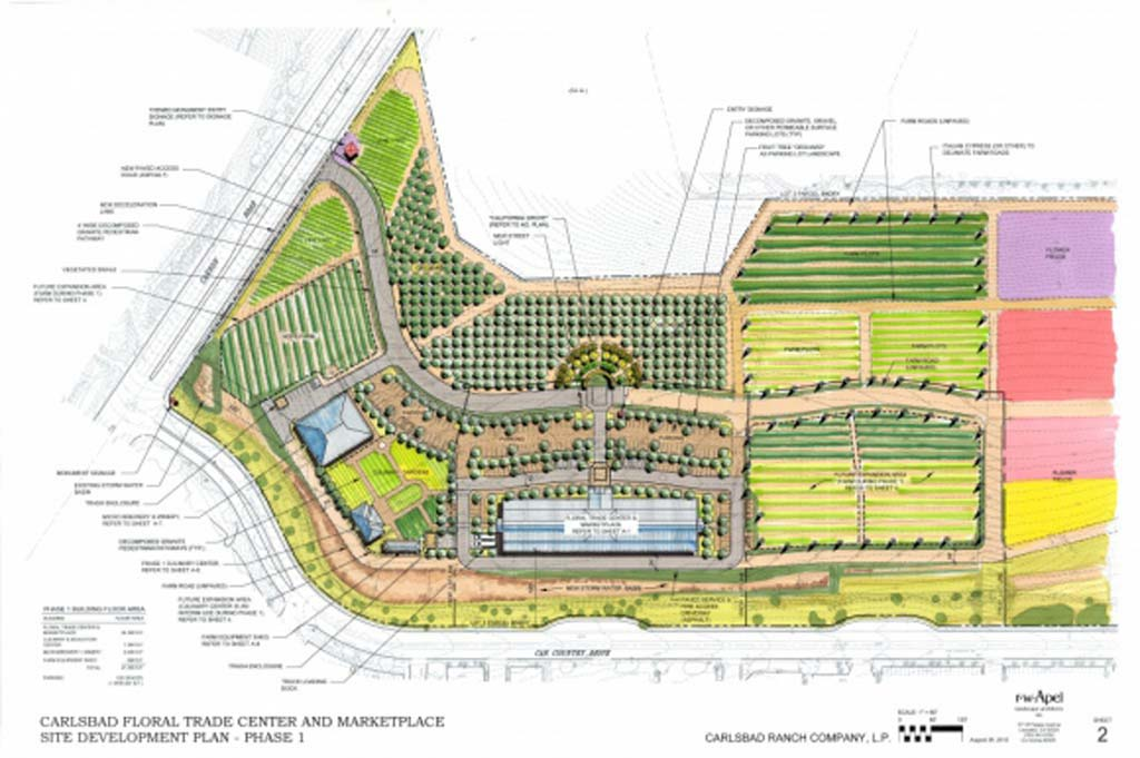 Carlsbad Ranch Company, L.P., has proposed to transform 45.6 acres along Cannon Road and Car Country Drive into a farm, orchard, floral trade center, market, microbrewery, winery, and more. Courtesy image
