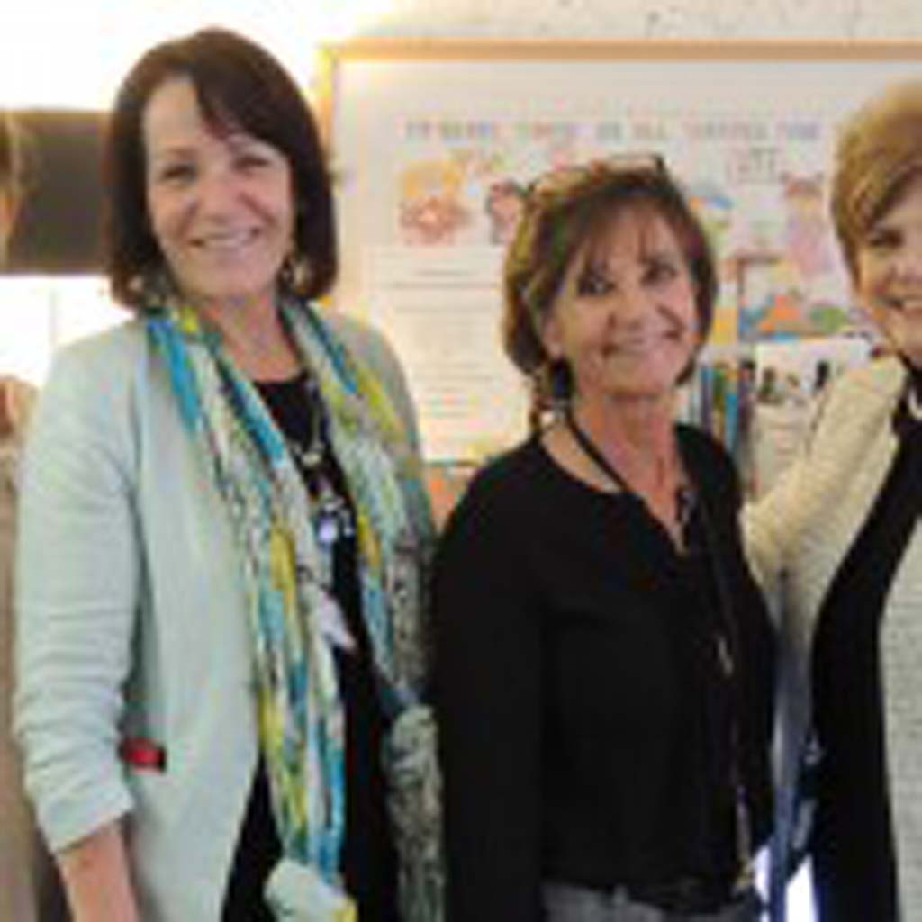 From left: Palomar Health social worker Christine Shultz, Director of Emergency Services Cathy Prante, and Supervisor of the Child Abuse Program Cathy McLennan, with San Diego District Attorney Bonnie Dumanis celebrate the fundraising that prevented Forensic Health Services from closing last year at an open house on Jan. 21. Photo by Rachel Stine