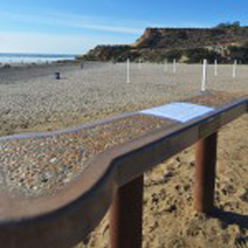 An unauthorized bench in honor of Loren Nancarrow, a local newscaster, was removed by the city of Del Mar recently. Photo courtesy of Jim Grant