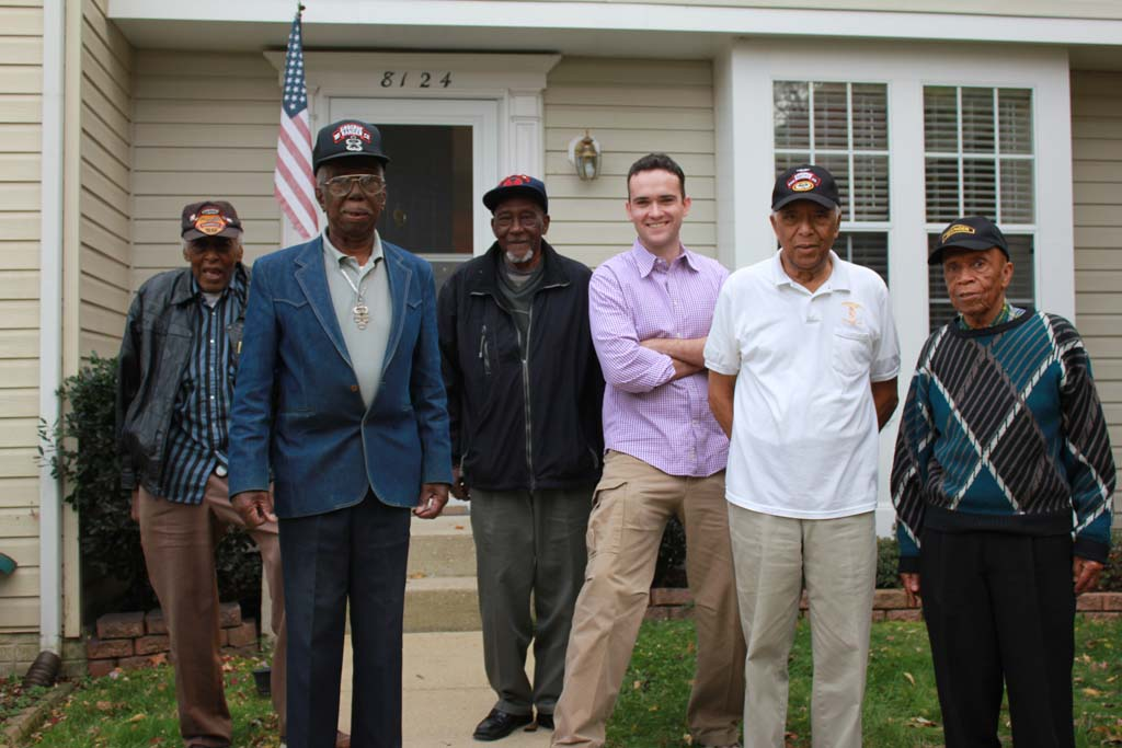 """Filmmaker Conor Timmis, third from right, stands with the surviving members of the all-black 2nd Rangers. His film, """"Finnegan's War,"""" won the best full-length documentary at the 2013 Oceanside International Film Festival. Courtesy photo"""