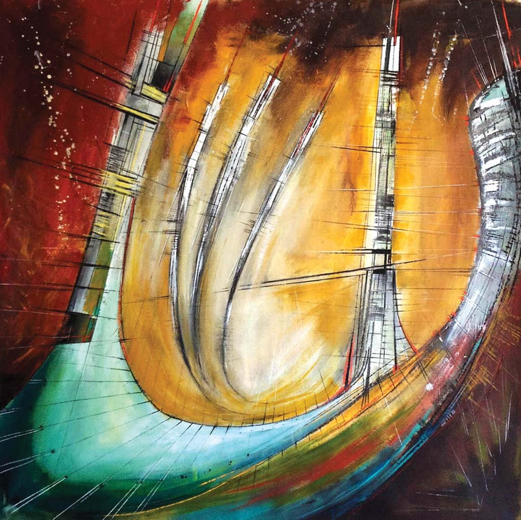 """Ad Astra Architecture, 46"""" x 46"""" acrylic on canvas painting by Donn Angel Pérez, will be on display through Feb. 24 in the Encinitas Library Art Gallery. Courtesy photo"""