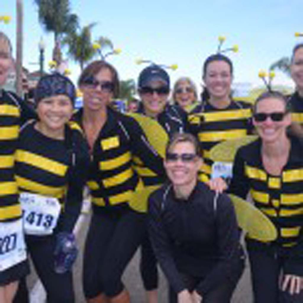 Part of the fun of the Cardiff Kook 10k/5k run is the costume contest. A group of participants dress up as bees on Sunday. Photo by Tony Cagala