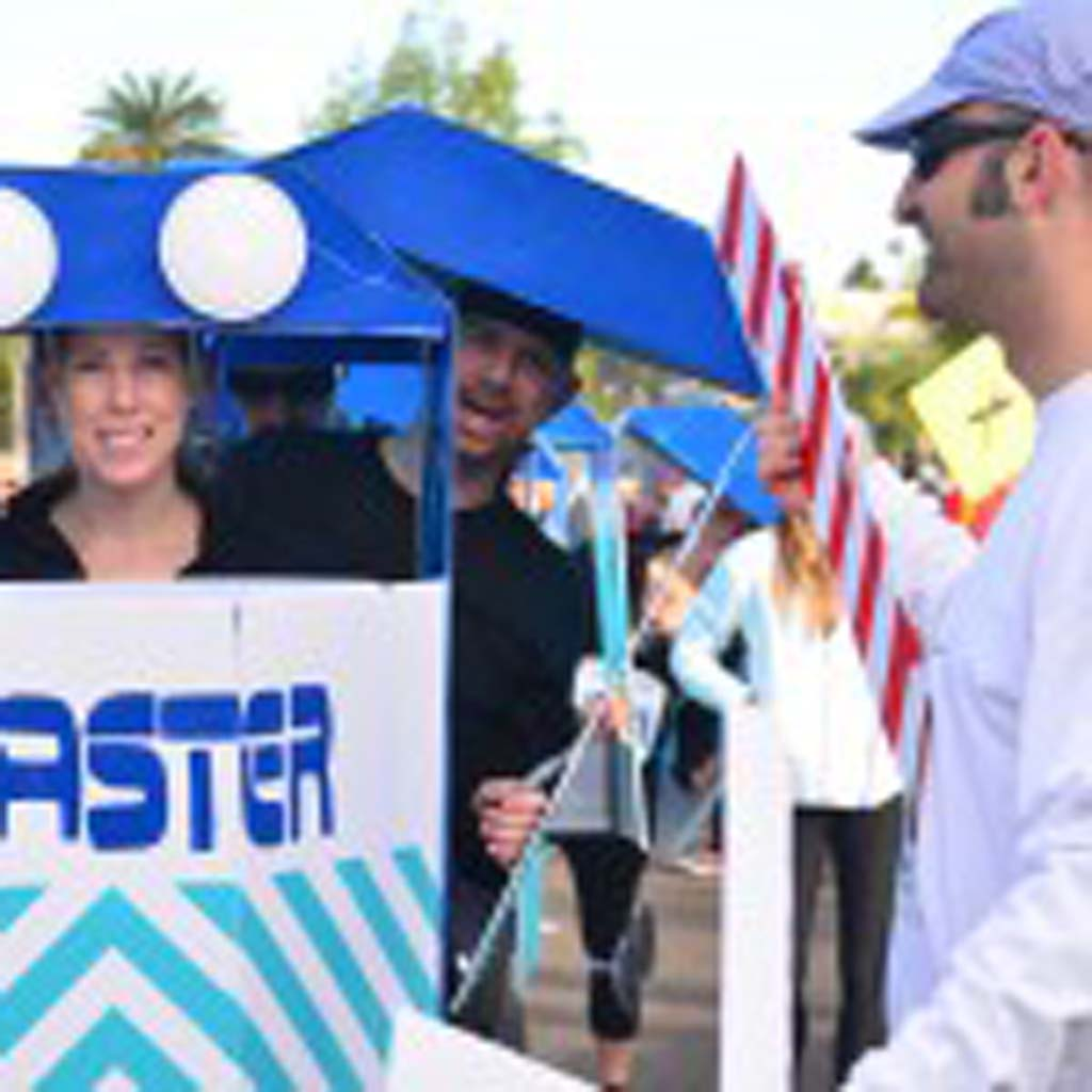 """One of the group winners of the Cardiff Kook 10k/5k run costume contest came dressed as the """"Kookster,"""" a take on the well-known Coaster train that runs through the area. Photo by Tony Cagala"""