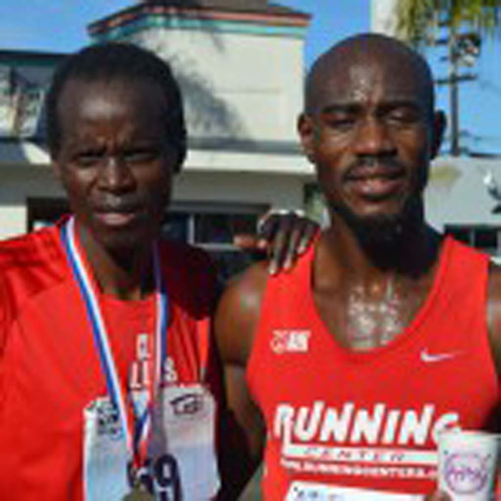 George Muthui, left, and Okwaro Rauro finished took second and first place respectively, during Sunday's third annual Cardiff Kook Run. Photo by Tony Cagala