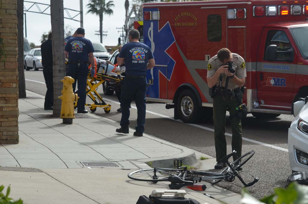 A bicyclist is being taken to Scripps Memorial Hospital Encinitas after being hit by a motorist Monday afternoon. The cyclist sustained non-life threatening injuries in the collision on N. Coast Highway 101. Photo by Tony Cagala