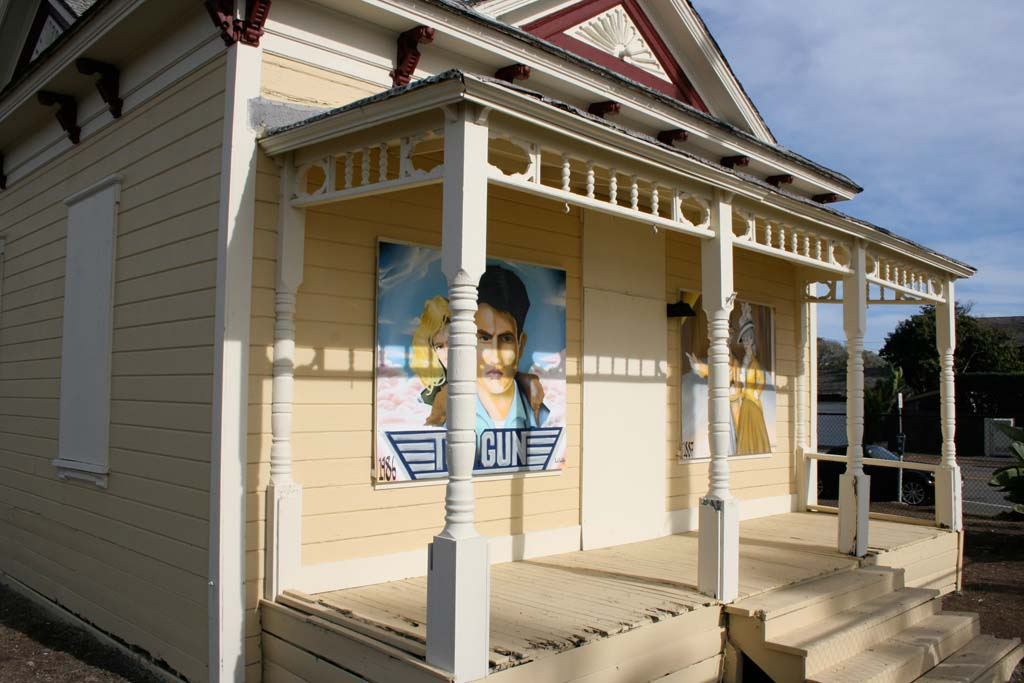 The Top Gun house received a new coat of paint and added murals. The murals by artist Paul Knebels depict its fame as a movie location and historical building. Photo by Promise Yee