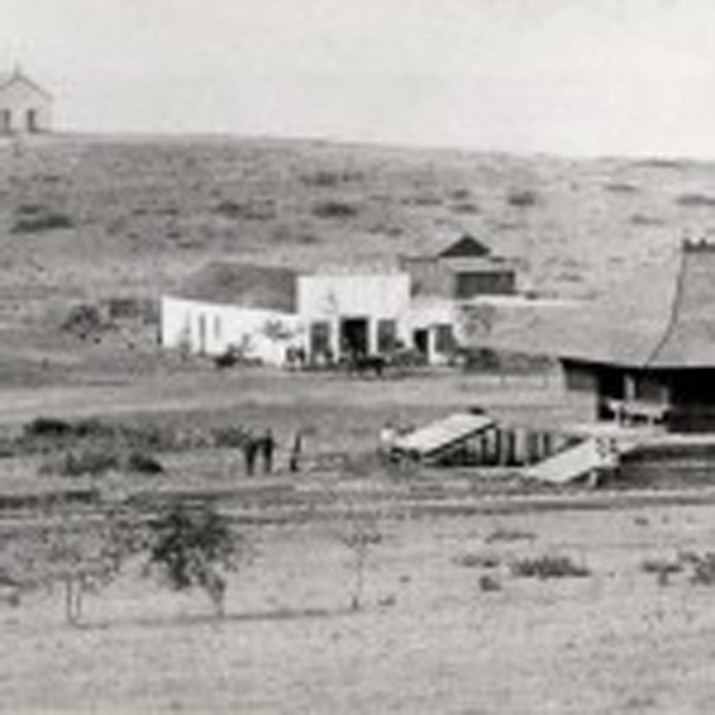 Distant view of the one room schoolhouse constructed on the Pacific View property as donated by J.S. Pitcher in 1883. Photo courtesy of Encinitas Historical Society