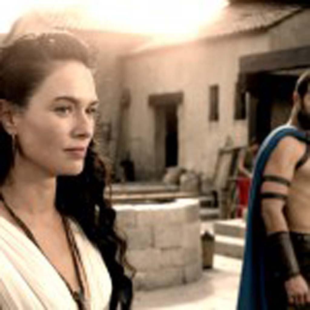 "Queen Gorgo (Lena Headey), left and Themistokles (Sullivan Stapleton) in ""300: Rise of an Empire"". Photo courtesy of Warner Bros. Pictures"