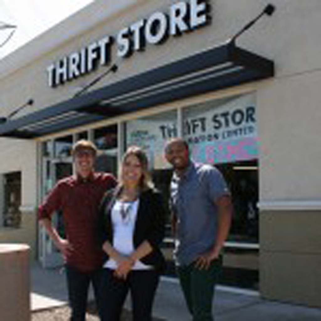 From left: Logan Bentz, thrift store senior assistant manager, Jennifer Conte, employment support coordinator, and Rashaw Goodwin, thrift store assistant manager, collect clothing donations at the store in Oceanside. Community Resource Center Thrift Stores are also located in Carlsbad, Encinitas and San Marcos. Photo by Promise Yee